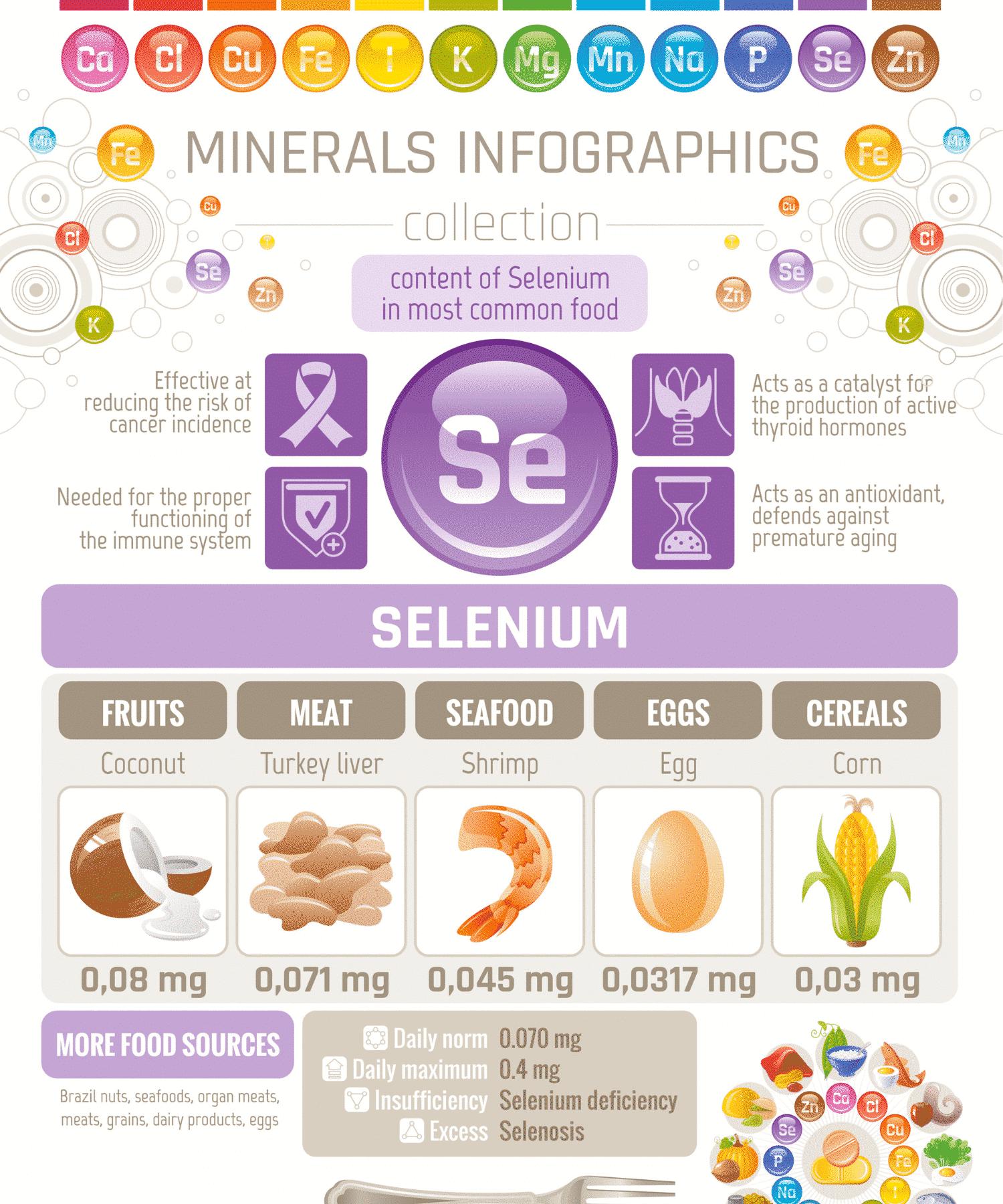 Infografía de selenio: fuentes de alimentos con selenio